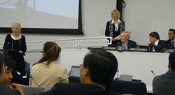 Felicitas Hoffmann holding the S.E.R. laudatory speech on H.E. Al-Nasser.jpg